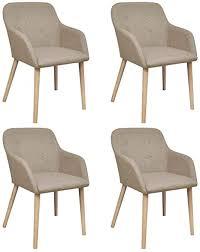 vidaxl 4x eiche massiv esszimmerstuhl beige armlehne stuhl küchenstuhl sessel
