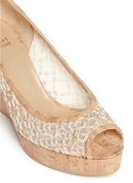 stuart weitzman u0027pipe anna u0027 glitter lace cork wedge pumps in
