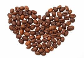 Heart Made Of Roasted Coffee Beans On White Background