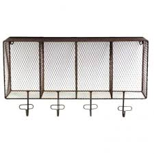 Rustic Wire Shelf And Hooks Industrial