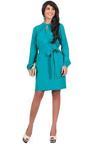 scarlett long sleeve knee length dress with belt