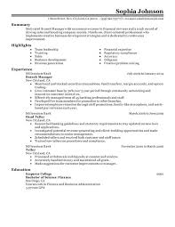 Bank Manager Resume Examples Thevillas Co Rh For Banking Position Finance