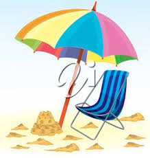 Clip Art Illustration Of A Sand Castle On The Beach Beside An Umbrella And Chair