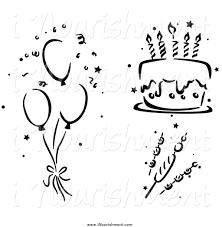 black and white stenciled birthday party balloons cake clipart