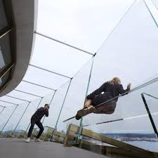A Glass Bench Against New Panels On The Observation Deck Of Space Needle MIR Image