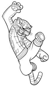Kung Fu Panda Tigress Jumping Kick In Coloring Page