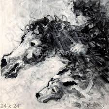 Equine Animal Horse Dog Black White Modern Art Painting On Canvas Office Background Abstract Wall Decoration In Calligraphy From Home