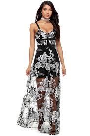 ayla black mesh embroidery dress