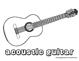 Handsome Acoustic Guitar Printables And Coloring Pages
