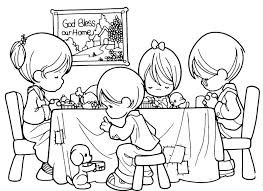 Family Praying Precious Moments Free Coloring Pages