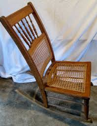Vintage Antique SOLID Oak Wooden Spindle Back Rocker Rocking Chair Caned  Seat