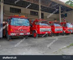100 Red Fire Trucks Mae Hong Sonthailand September2018 Stock Photo