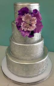 Silver Wedding Cake Layered Flower Print Purple Rhinestone Jewels Round