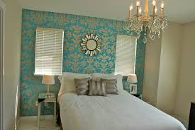 Homemade Headboards With Luxury Turquoise Floral Wallpaper And White Bedding Plus Chandelier For Bedroom Ideas