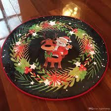Christmas Red Bathroom Rugs by 2018 Happy New Year Christmas Reindeer Round Floor Carpeting 80 Cm