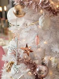 White Christmas Tree With Stylish Rose Gold And Pink Decorations In