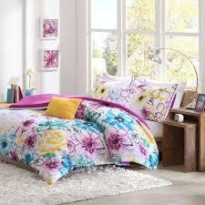 floral comforter set full queen bed flowers girls pink bedding