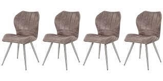 4 esszimmerstühle in vintage stoff in grau braun