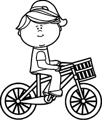 Girl Riding Bicycle With Basket Coloring Page