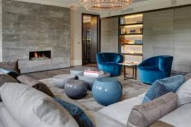Blue Velvet Armchair Living Room Contemporary With Built Image By Staffan Tollgard Design Group