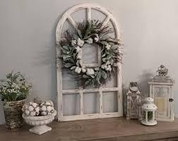 Farmhouse Wall DecorDistress Window PaneGrapevine WreathWall DecorHousewarming Gift