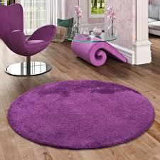 hochflor shaggy teppich palace lila rund