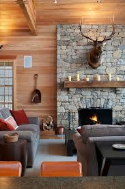 Electric Fireplace Mantels Family Room Rustic With Beadboard Black Coffee Table Cabin Gray