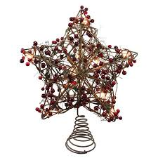 135 Brown Rattan With Red Berries Star Christmas Tree Topper