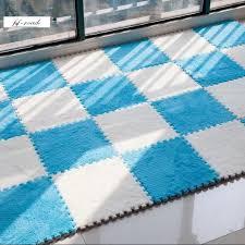 24 stücke puzzle matten teppich pile plüsch dicke schaum grün wohnzimmer schlafzimmer puzzle teppich baby spielen matte