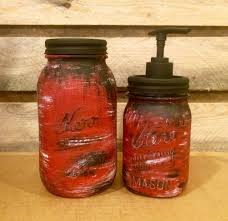 Mason Jar Bathroom Set Rustic Barn Red Jars Desk AmericanaGloriana