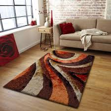 Shaggy Brown with Orange Area Rug By Rug Addiction
