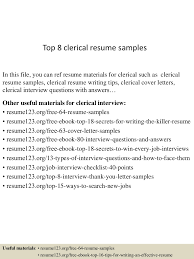 Top 8 Clerical Resume Samples Clerical Cover Letter Example Tips Resume Genius Sample Administrative New Rumes Examples Of 15 Mmus Form Provides Your Chronological Order Of Objectives For Positions Study Cv Samples Office Job Post Objective 10 Data Entry Jobs Proposal Letter Free Elegant Inventory Clerk What Makes Information 910 Examples Clerical Rumes Soft555com