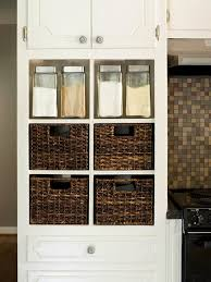 Go Beyond Removing Doors Instead Of Just Cabinet And Displaying Dishes Outfit The Now Open Storage With Textured Baskets Bins