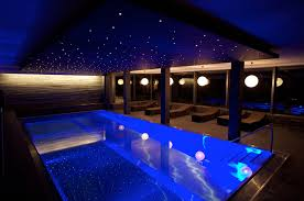 Swimming Pool Romantic Indoor Mixed With Sparkling Ceiling And From Outdoor