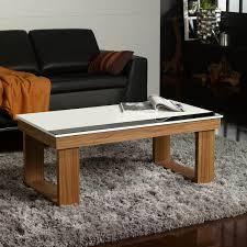 pied de le blanc table basse relevable plateau blanc et pied bois