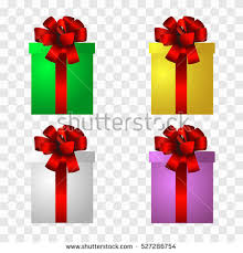 Vector Present Boxes Isolated on transparent Background Bow for Birthday Celebration Christmas Valentines