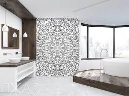 schwarz weiße mandala fototapeten für badezimmer