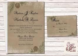 Winter Wedding Invitation Printable Christmas Pinecone Set