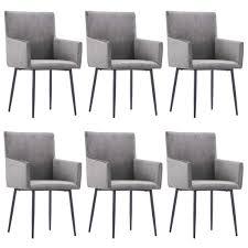 vidaxl esszimmerstühle mit armlehnen 6 stk grau samt gitoparts
