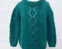 Jumper Green Sweater Handmade Top Vintage Chunky Knit Fall Clothing Girls Gift 1990s Clothes