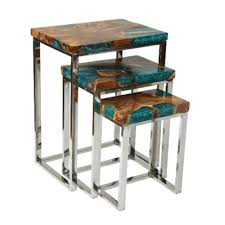 ls uptown icy wood nesting table with metal base set 3 green