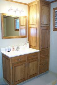 small bathroom decoration using solid light oak wood bathroom