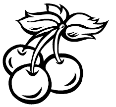 cherries clip art black and white