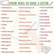 How To End A Letter In English English English Writing