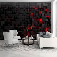 benutzerdefinierte moderne technologie tapeten für wohnzimmer wand papier 3d rot licht glänzende schwarz würfel wandbild tapete wohnkultur
