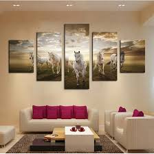 5pcs Art Pictures Running Horse Large HD Modern Home Wall Decor Abstract Canvas Print Oil Painting