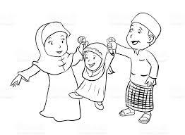 Coloring Happy Muslim Family Vector Illustration Stock Art