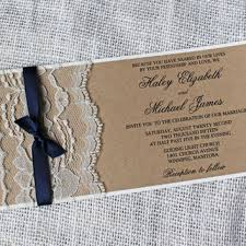 SALE 10 Rustic Wedding Invitation Lace Suite Navy