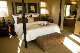 Bathroom Decorating Ideas For Colonial Homes Bed With Posts And Wicker Ottoman Creating Style
