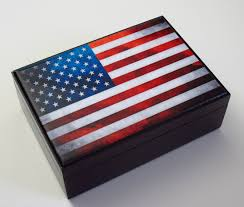 Wooden jewelry box United States of America Flag USA American